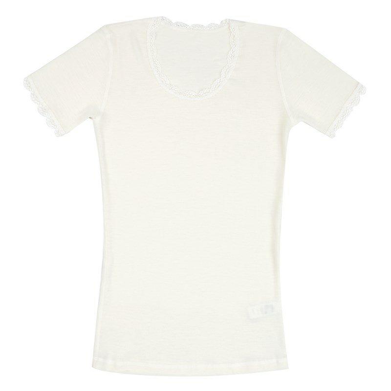 Uld T shirt m. korte ærmer og blonder
